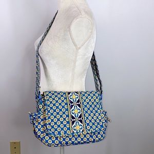 Vera Bradley Riviera blue yellow crossbody bag